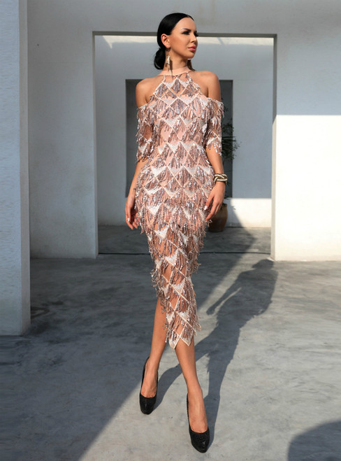 In Stock:Ship in 48 Hours Gold Sheath High Collar Shoulder-exposed Tassel Sequined Split Fork Party Dress