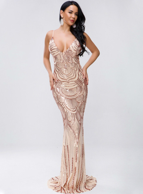 In Stock:Ship in 48 Hours Gold Sequins Open Back Party Dress