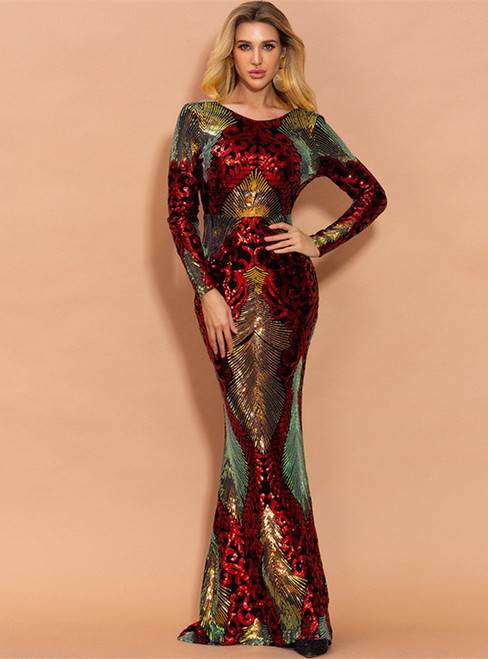 In Stock:Ship in 48 Hours Red Mermaid Sequins Long Sleeve Party Dress