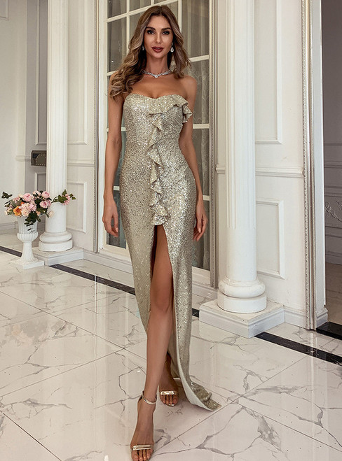 In Stock:Ship in 48 Hours Gold Mermaid Sequins Party Dress With Split