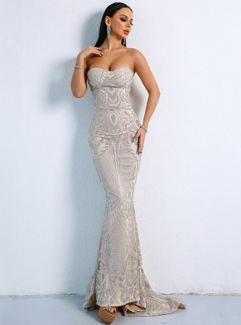 In Stock:Ship in 48 Hours Sexy Silver Mermaid Sequins Party Dress