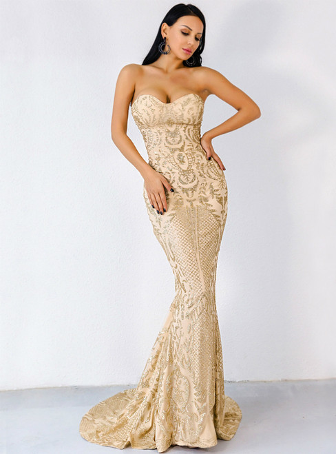 In Stock:Ship in 48 Hours Sexy Gold Mermaid Sequins Party Dress