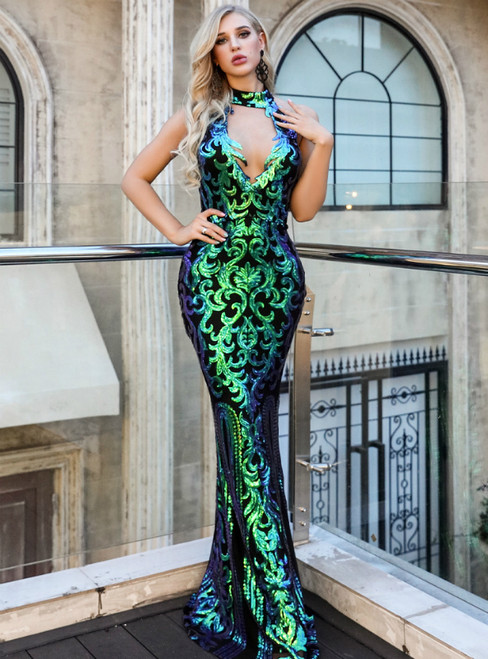 In Stock:Ship in 48 Hours Green Mermaid Halter Sequins Party Dress