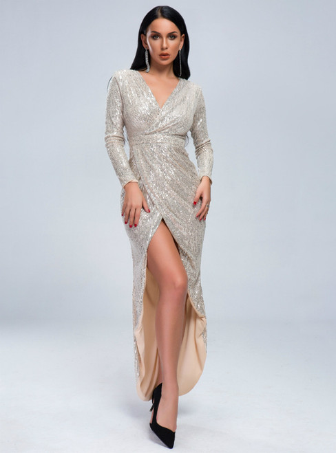 In Stock:Ship in 48 Hours Sexy Gold Sequins V-neck Long Sleeve Party Dress With Split