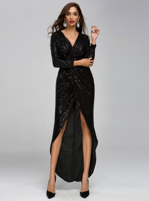 In Stock:Ship in 48 Hours Sexy Black Sequins V-neck Long Sleeve Party Dress With Split