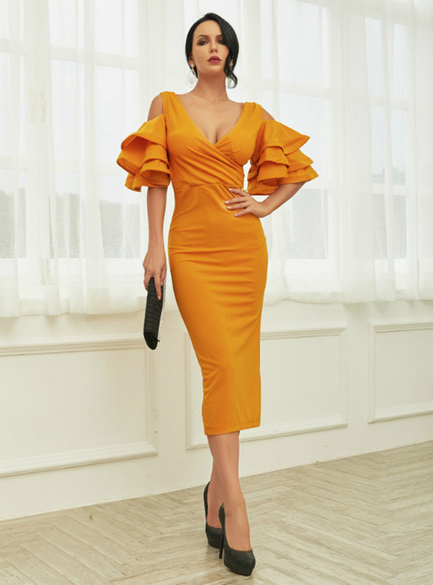 In Stock:Ship in 48 Hours Yellow Sheath V-neck Tea Length Party Dress