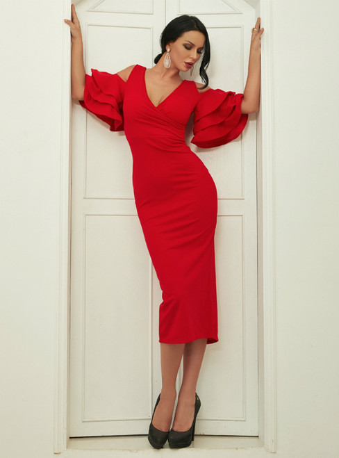 In Stock:Ship in 48 Hours Red Sheath V-neck Tea Length Party Dress