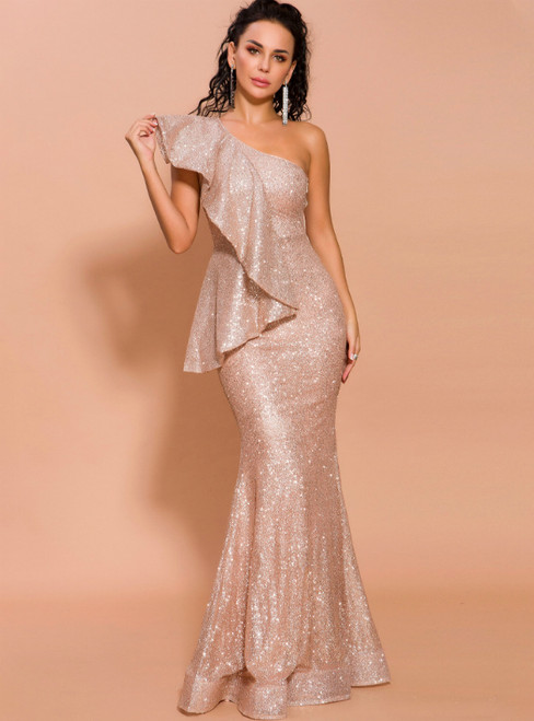 In Stock:Ship in 48 Hours Gold Mermaid Sequins One Shoulder Lotus Leaf Edge Party Dress