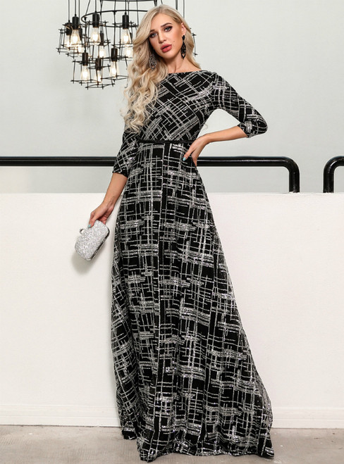 In Stock:Ship in 48 Hours A-Line Black Sequins 3/4 Sleeve Party Dress