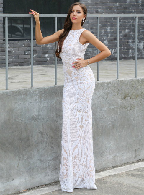 In Stock:Ship in 48 Hours White Sequins Backless Long Party Dress