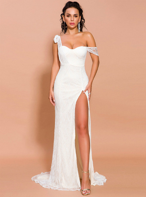 In Stock:Ship in 48 Hours Sexy White Sequins Tulle Party Dress With Side Split