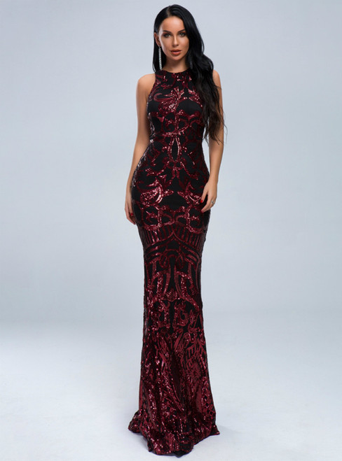 In Stock:Ship in 48 Hours Black Mermaid Sequins Red Sequins Party Dress