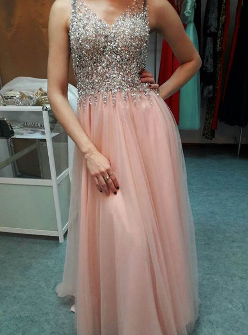 New Arrival Pink Tulle V-neck Backless Prom Dress With Beading