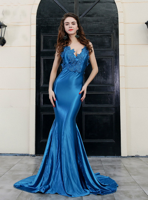 In Stock:Ship in 48 Hours Blue Mermaid Satin Spaghetti Straps Party Dress