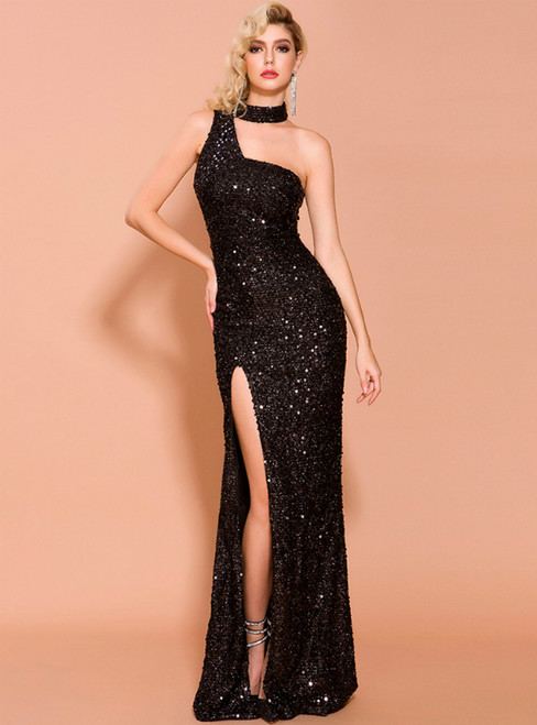In Stock:Ship in 48 Hours Black Mermaid Sequins One Shoulder Party Dress