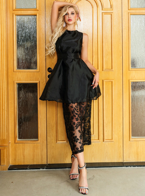 In Stock:Ship in 48 Hours A-line Black Organza Lace Tea Length Party Dress