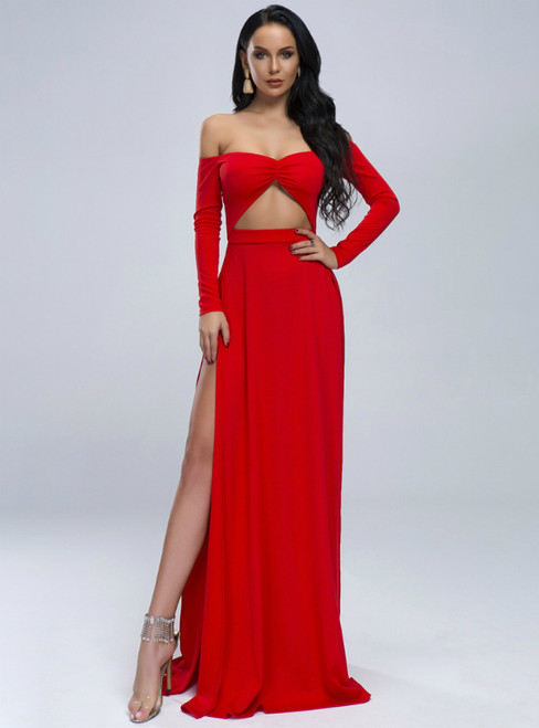 In Stock:Ship in 48 Hours Red Off the Shoulder Long Sleeve Party Dress
