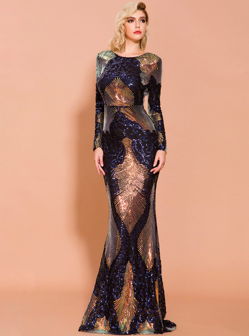 In Stock:Ship in 48 Hours Black Mermaid Sequins Backless Long Sleeve Party Dress