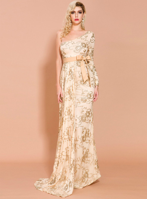 In Stock:Ship in 48 Hours Gold Sequins One Shoulder Party Dress