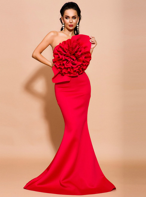 In Stock:Ship in 48 Hours Red Mermaid Satin Strapless Party Dress