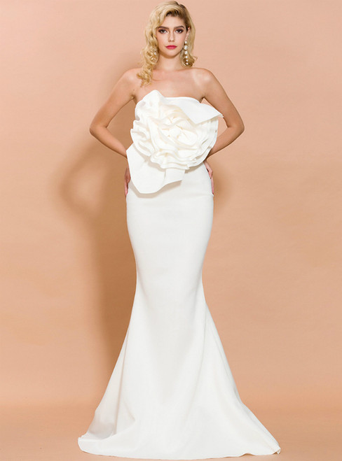 In Stock:Ship in 48 Hours White Mermaid Satin Strapless Party Dress