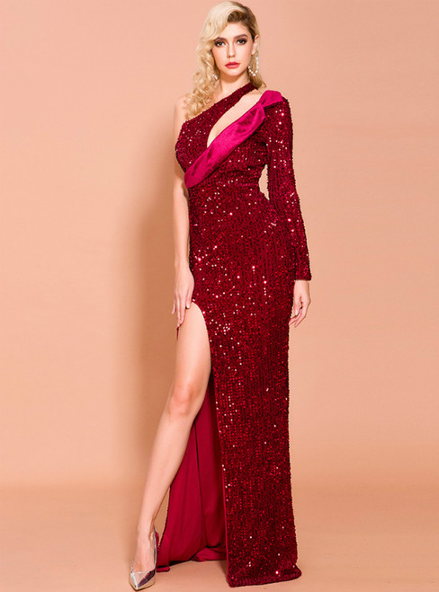 In Stock:Ship in 48 Hours Burgundy Sequins One Shoulder Party Dress