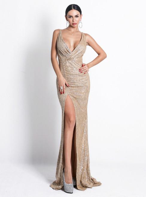 In Stock:Ship in 48 Hours Sexy Gold Sequins V-neck Party Dress