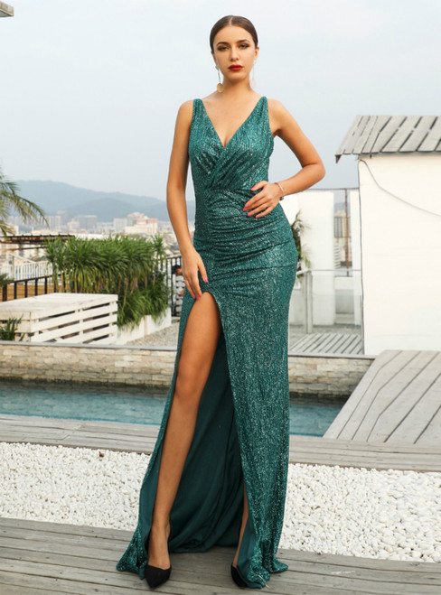 In Stock:Ship in 48 Hours Sexy Green Sequins V-neck Party Dress