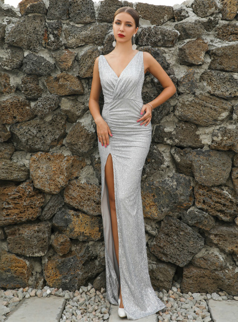 In Stock:Ship in 48 Hours Sexy Silver Sequins V-neck Party Dress