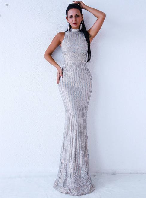 In Stock:Ship in 48 Hours Silver Sequins High Neck Party Dress