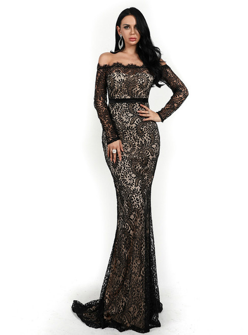 In Stock:Ship in 48 Hours Black Mermaid Lace Off the Shoulder Long Sleeve Party Dress
