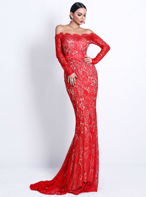 In Stock:Ship in 48 Hours Red Mermaid Lace Off the Shoulder Long Sleeve Party Dress