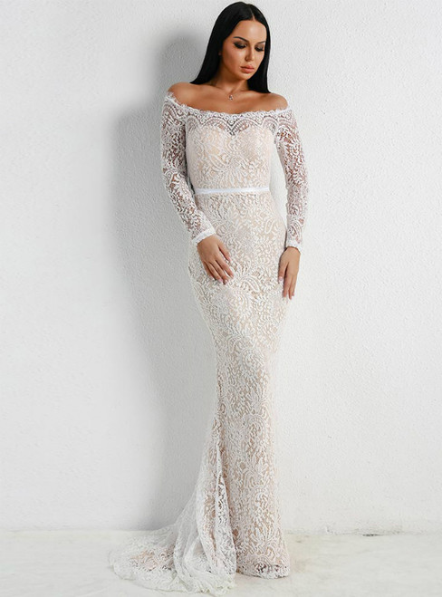 In Stock:Ship in 48 Hours White Mermaid Lace Off the Shoulder Long Sleeve Party Dress