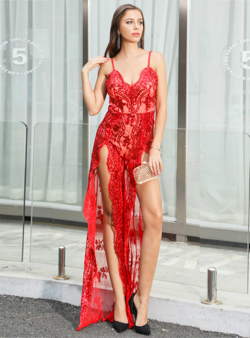 In Stock:Ship in 48 Hours Red Sequins Spaghetti Straps Party Dress