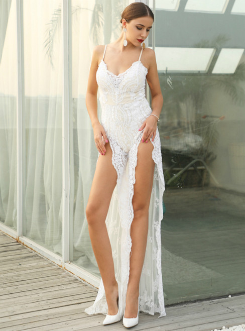 In Stock:Ship in 48 Hours White Sequins Spaghetti Straps Party Dress