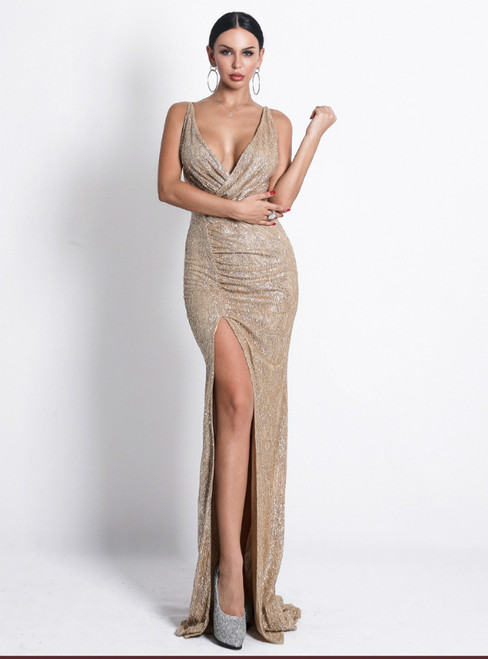 In Stock:Ship in 48 Hours Sexy Gold Mermaid Sequins V-neck Party Dress