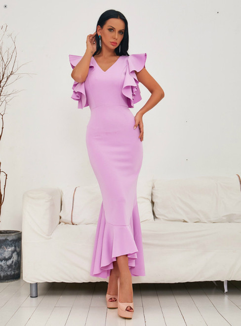 In Stock:Ship in 48 Hours Pink V-neck Lotus Leaf Edge Party Dress