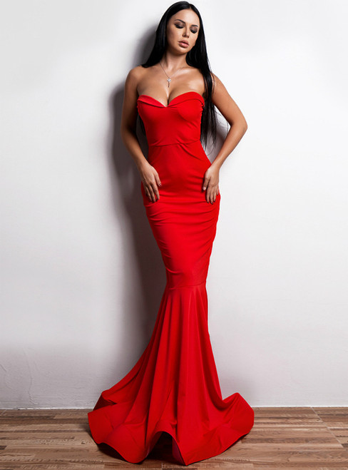 In Stock:Ship in 48 Hours Sexy Red Strapless Sweetheart Party Dress