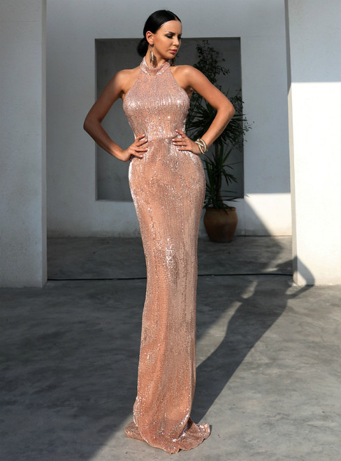 In Stock:Ship in 48 Hours Gold Mermaid Halter Sequins Party Dress