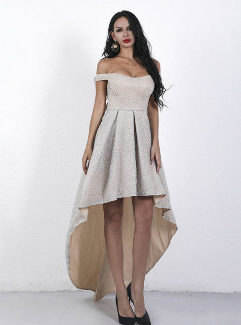 In Stock:Ship in 48 Hours Gold Hi Lo Off the Shoulder Party Dress
