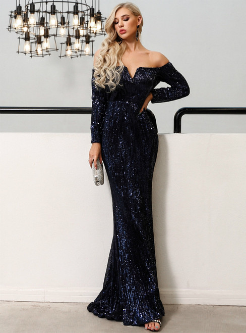 In Stock:Ship in 48 Hours Blue Mermaid Sequins Off the Shoulder Long Sleeve Party Dress