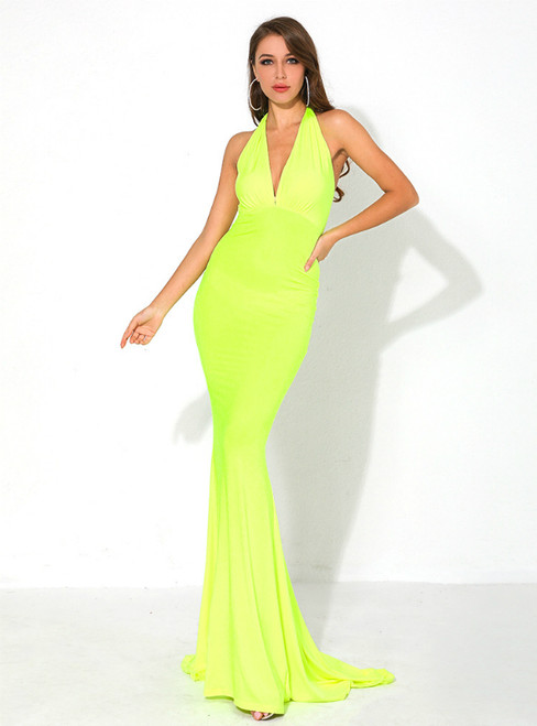 In Stock:Ship in 48 Hours Yellow Mermaid Deep V-neck Party Dress