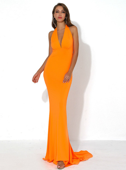 In Stock:Ship in 48 Hours Orange Mermaid Deep V-neck Party Dress