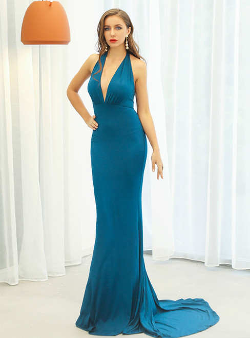 In Stock:Ship in 48 Hours Blue Mermaid Deep V-neck Party Dress