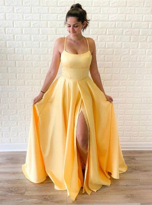 A-Line Yellow Satin Spaghetti Straps Prom Dress With Side Split