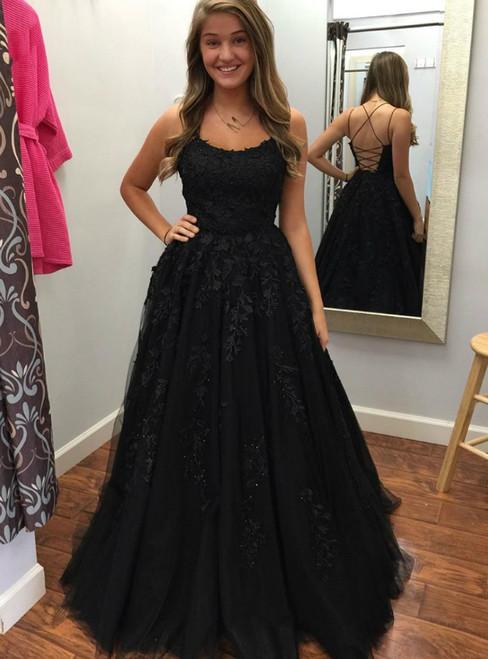 A-Line Black Tulle Appliuqes Spaghetti Straps Prom Dress
