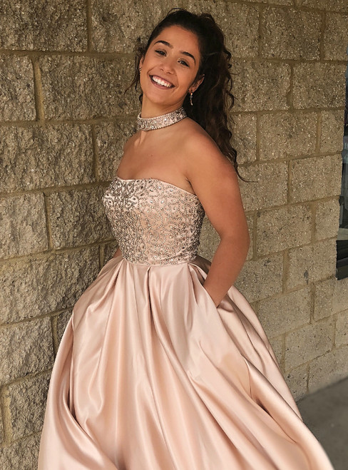 A-Line Champagne Satin Strapless Beading Crystal Floor Length Prom Dress