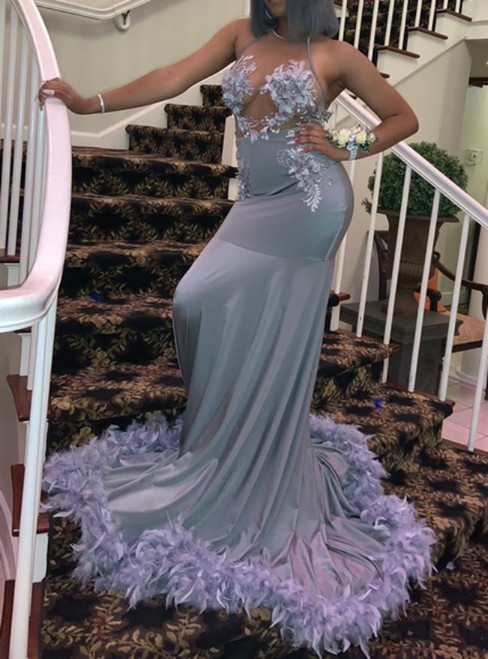 Gray Mermaid Halter Satin Backless Flower Feather Prom Dress