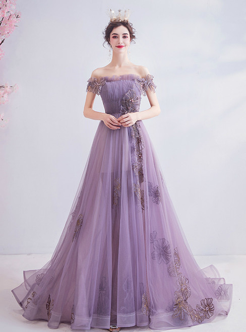 In Stock:Ship in 48 Hours Purple Tulle Off the Shoulder Beading Prom Dress