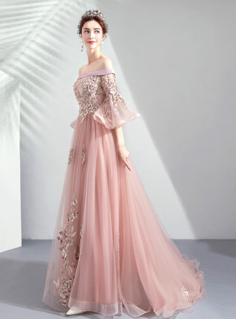 In Stock:Ship in 48 Hours Pink Tulle Embroidery Short Sleeve Prom Dress